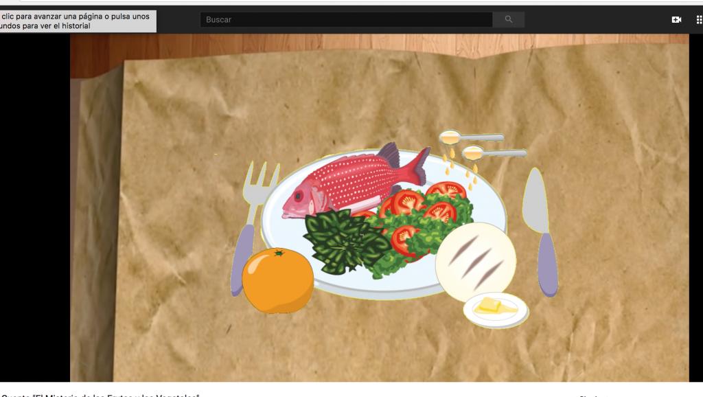 Captura de pantalla del cuento para niños sobre alimentación