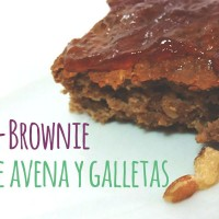 fit brownie sobre fondo blanco y letras